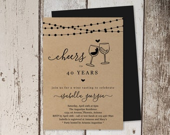 Wine Tasting Birthday Invitation Template, Winery Party Theme Invite Instant Download Digital File, Kraft Paper 30th 30 40th 40 50th 50 Year