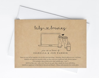 Virtual Baby Brewing Invitation Printable Template - Beer Zoom Baby Shower Invite Evite - Instant Download Editable PDF Digital File Mobile