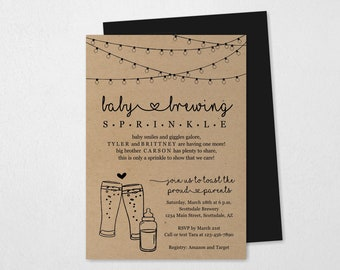 Baby Brewing Sprinkle Invitation Template, Printable Gender Neutral Beer Bottle Toast Couple Party Invite, Instant Download Digital File PDF