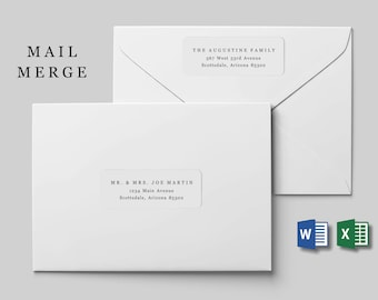 """Mail Merge Address Label Template - Avery 2 2/3 x 1"""" - Microsoft Word - Printable Instant Download Digital File - Wedding Christmas Envelope"""