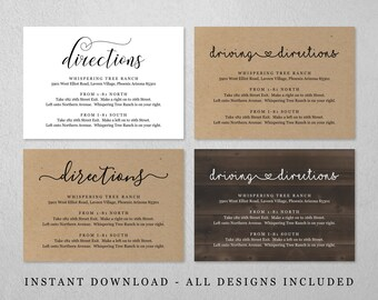 Directions Card Template - Printable Wedding Direction Enclosure Insert - Rustic Kraft Paper - Editable Instant Download Digital File PDF