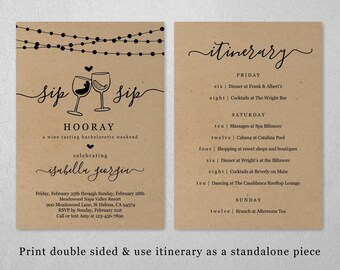 Wine Tasting Bachelorette Weekend Invitation & Itinerary Template, Sip Sip Hooray Hens Party Invite, Instant Download PDF File, Kraft Paper