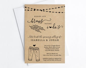 Kebabs & Brews Before I Do Couple Shower Invitation Template, Kebabs Beer Bridal Wedding Rehearsal Dinner Engagement Party Invite Download