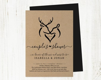 Antlers Doe & Deer Heart Hunters Couple Shower Invitation Template, Rustic Country Bridal Wedding Invite Instant Download Digital File PDF