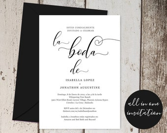 Spanish Wedding Invitation All in One w- RSVP and Registry, Printable Seal & Send Template, Simple Invite, Instant Download Digital File PDF