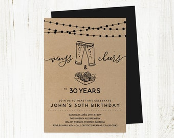 Wings Cheers & Beers Birthday Invitation Template, Men Guy Adult Brewery Party Invite Instant Download, 21st 21 30th 30 40th 40 50th 50 Year
