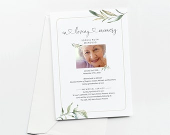Funeral Announcement Card Template for Women, Printable Memorial Service Invite, Mass Invitation, Instant Download Digital File 5x7 PDF