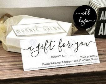 Printable Gift Certificate, Gift Card Template, Simple Rustic Kraft Paper, Editable pdf Instant Download, Business Envelope #10, 9