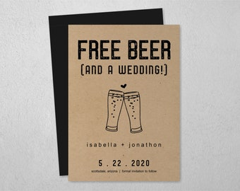 Free Beer Funny Save the Date Card, Printable Invitation Template, Rustic Brewery Toast, Kraft Paper, Editable Instant Download Digital File