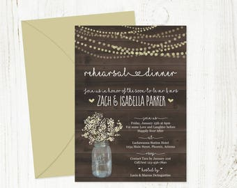 Rehearsal Dinner Invitation Template - Rustic Mason Jar w Baby's Breath & String Lights / Wood - Printable DIY Instant Download Digital File