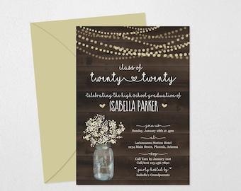 Rustic Graduation Invitation Template - Printable Wood Party Invite - Women / Girls High School / College Instant Download Digital File PDF