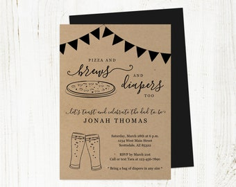 Pizza and Brews Diapers Too Invitation Template, Printable Daddy Guy Men Baby Shower Party Invite Evite Instant Download Digital File PDF
