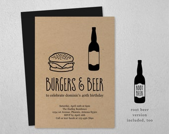 Burgers & Beer Invitation Template, BBQ Brews Birthday Bachelor Party Printable Invite Instant Download Digital File, Kraft Paper, Barbeque