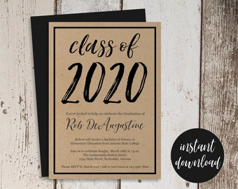2020 Graduation Party Invitation Template - Women / Men or Girls / Boys High School or College - Printable Instant Download Digital File PDF