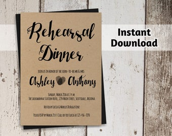Rehearsal Dinner Invitation Printable Template - Rustic Fingerprints on Kraft Paper | Easy Editable DIY PDF | Instant Download Digital File
