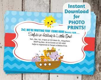 Noah's Ark Baby Shower Invitation / 1st Birthday Invite - Instant download -Can use to order photo prints! (printable on card stock, too!)