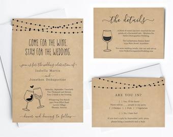 Funny Wine Wedding Invitation Template - Fun Winery Wine Glass Toast Printable Set, Rustic Kraft Paper, Instant Download PDF Suite, Lights