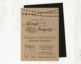 Burgers and Brews Diapers Too Invitation Template, Printable Daddy Guy Men Baby Shower Party Invite Evite Instant Download Digital File PDF