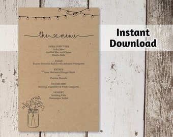 Printable Wedding Menu Template - Rustic Bar Menu - Mason Jar, Lights, Baby Breath on Kraft Paper - DIY PDF Instant Download - 4x6 5x7