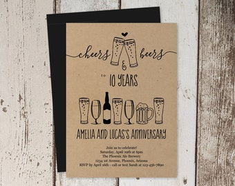 Cheers & Beers Anniversary Party Invitation Template, Brewery Invite Instant Download Digital File, Kraft Paper, 10th 10 20th 20 25th Year
