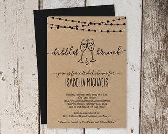 Bubbles & Brunch Invitation Template - Bridal Shower, Baby Shower, Birthday Party Invite - Instant Download Digital File DIY PDF Kraft Paper