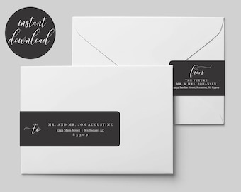 Printable Address Template for Envelope Wraparound Labels - Avery 22838 - Black & White Wrap Around - Instant Download Digital File PDF