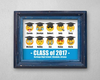 Printable Graduation Gift for Her or Him - Best Friends - Funny Idea - Personalized Emoji Wall Art - Instant Download Print - Digital File