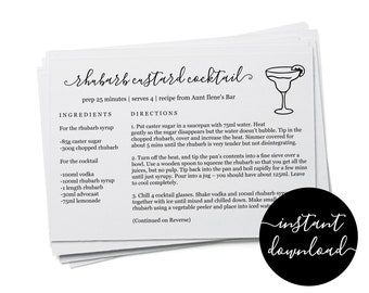 Editable Cocktail Recipe Card Template - Printable Bar Drink Recipe Card - Index Card Size 4x6 Easy DIY Digital File Instant Download PDF