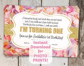 Adorable Poem for 1st First Birthday Invitation for Girls Party - Gold Glitter & Pink Confetti - Instant Download Digital File Photo Prints