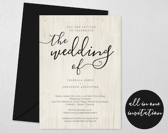 All in One Wedding Invitation w- RSVP and Registry, Printable Seal & Send Template, Simple Invite, Rustic Barn Wood, Download Digital File