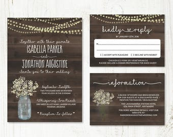 Wedding Invitation Template - Rustic Baby's Breath, Mason Jar, Fairy Lights & Wood Printable Set | PDF Instant Download Digital File Suite