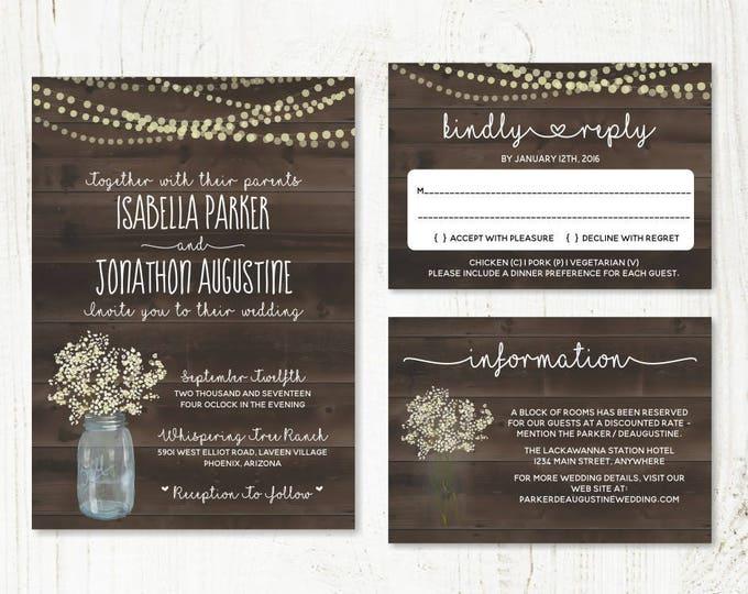 Featured listing image: Wedding Invitation Template - Rustic Baby's Breath, Mason Jar, Fairy Lights & Wood Printable Set | PDF Instant Download Digital File Suite