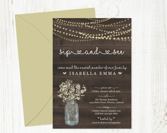 Sip and See Invitation Template - Rustic Printable Sip & See Party Invite - Mason Jar, Wood - Instant Download DIY Digital File PDF 5x7