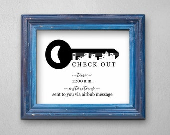 Check Out Time Sign Printable Template - AirBNB Hotel Room Print - PDF Instant Download Digital File - Cardstock Kraft Paper - 8x10 5x7 4x6