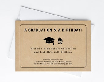 Graduation Birthday Join Party Invitation Template, Printable Kraft High School Color College 8th Grade 18th Instant Download Digital File