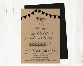 Michelada & Enchilada Birthday Invitation Template, Men Guy Adult Mexican Brewery Party Invite Instant Download 30th 30 40th 40 50th 50 Year