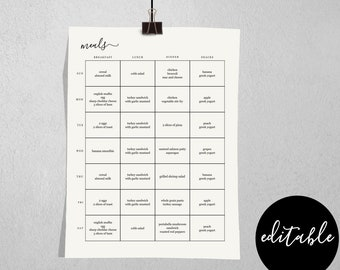 Editable Meal Planner & Grocery / Shopping / Food List Template, Printable Weekly Planner Notebook Insert, Instant Download Digital File PDF