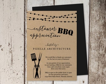 Customer Appreciation BBQ Invitation Template, Printable Company Employee Barbeque, Business Barbecue Party Invite, Instant Download Digital