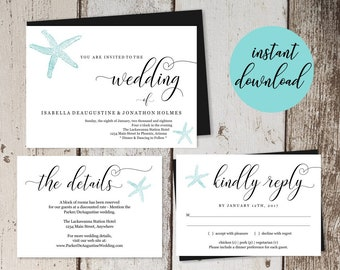 Beach Wedding Invitation Template - Printable Starfish Set - Destination Wedding - Simple - Editable PDF Instant Download Digital File Suite
