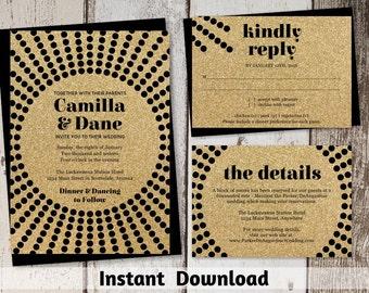 Wedding Invitation Template - Unique Art Deco Starburst - Gold and Black - Instant Download Digital File Editable PDF Suite / Set