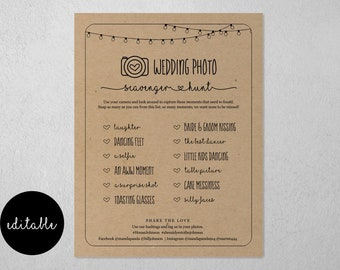 Editable Wedding Photo Scavenger Hunt Template, Printable I Spy Reception Table Game Card Activity, Instagram Sign Instant Download Digital