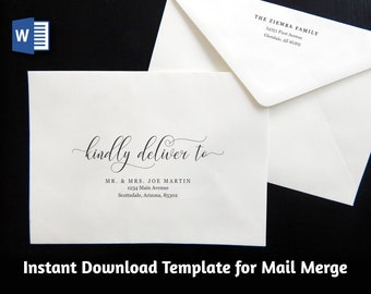Wedding Address Envelope Template for Microsoft Word Mail Merge - Printable Modern Script Instant Download Digital File A7 - Christmas