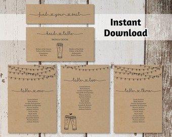 Brewery Wedding Seating Chart Card Template, Printable Rustic Beer Toast & Fairy Light Seating Plan on Kraft Paper, PDF Instant Download DIY