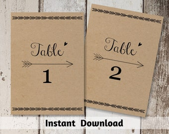 Wedding Table Number Printable - Table Card Template - Boho Heart & Arrow on Kraft Paper | Editable PDF Instant Download | Bohemium