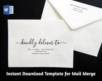 Wedding Address Envelope Template for Microsoft Word Mail Merge - Printable Modern Script Instant Download Digital File A7 A9 - Christmas