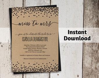 Printable Bridal Shower Invitation Template, Rustic Miss to Mrs Invite, Polka Dot Glitter Confetti, Kraft Instant Download Digital File PDF