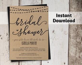 Bridal Shower Invitation Printable Template - Rustic String Lights, Calligraphy, Kraft Paper Wedding Shower - Instant Download Digital File