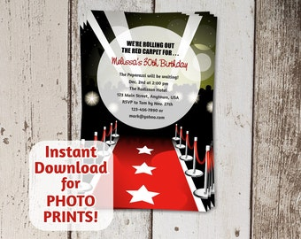 Red Carpet Hollywood Invitation for Shower / Birthday Party - Instant digital file download - Get photo prints or printable on card stock