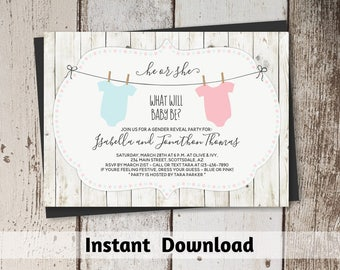 Rustic Gender Reveal Invitation Download, Printable Template, Instant Digital File Editable PDF, He or She Pink & Blue Onesie, Twin Multiple