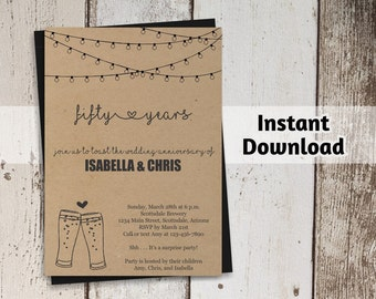 Brewery Wedding Anniversary Invitation - Rustic Beer Printable Party Template Instant Download - 5th 10th 15th 20th 25th 30th 40th 50th 60th